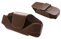 Brown Leather Carrying Pouch Case For LG Scoop AX2