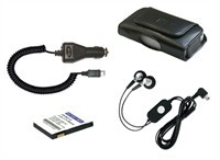 Stereo Handsfree, Car Charger, Leather Case & Batt