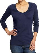 Womens Perfect Shirred V Neck Tee Shirt
