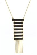 Black Leather Totem Pole Necklace - Gold