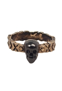 Engraved Band Ring with Gunmetal Skull - Gold - 6