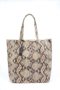 Ezra Serpent Leather Tote in Beige - Beige