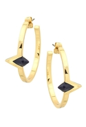 Navy Triangle Hoop Earrings - Gold