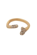 Plated Bone Ring with Black Diamond Pave Gold 6