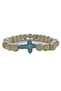 Bijouterie Light Wood Cross Craze Bracelet in Turq
