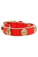 Italian Leather Screw Bracelet in Orange Neon Oran