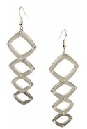 Geometric Dangle Earrings in Silver