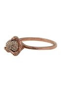 Rose Gold Talon Ring with Black Diamond Pave - Ros