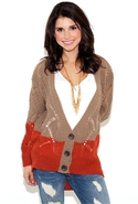 Show Your Wit Knit Cardigan Sweater - Cocoa/Rust -