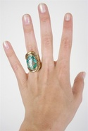. Turquoise Oval Ring - Turquoise - One Size Fits