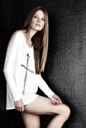 Tylie Nail Cross Draped Tee - White - Medium