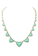 Pyramid Station Necklace in Mint Green - Mint Gree