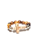 Cross Bead Ring - Brown - One Size Fits Most