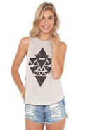 Aztec Galaxy Muscle Tank - Bone - Medium/Large