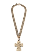 The Zelda Small Cross Necklace - Brass