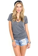LnA Deep V Tshirt in Grey Small