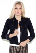 The Zip Moto Jacket in Ebony - Ebony - 1/S