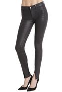 J Brand Vera Slit Skinny in Coated Stealth - Coate