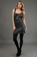 First Lady Disco Dress in Gunmetal