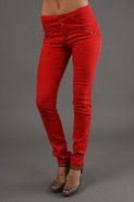 5 Pocket Twill Skinny Pants In Red