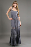 Halter Hippie Dress in Cement