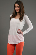 Rib Long Sleeve Tee in Ivory