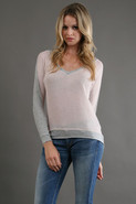Sheer V Neck Top in Pale Pink