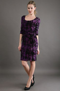 3/4 Sleeve Dress in Purple