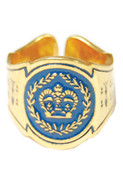 Crown Cigar Ring in 14k Plated Solid Brass