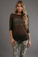 Mesh Off Shoulder in Speckled Brown