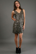Two Tone Sequin Dress in Nude and Black