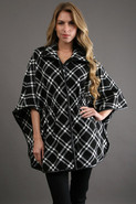 Plaid Cape in Black/White