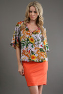 Belladonna V Neck Kimono Top in Multi