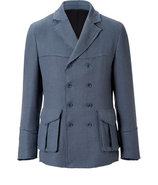 Pigeon Blue Double-Breasted Cotton-Blend Jacket