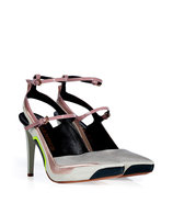 Silver Grey-Multi Leather/Fabric Pumps