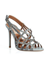 Ice Blue Studded Python Sandals