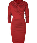 Brick Red Asymmetrical Draped Dress