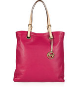 Peony Pink Textured Leather Jet Set Travel Tote