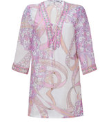 Blush/Pink Cotton-Silk-Blend Tunic