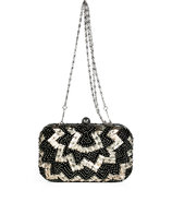 Black Beaded Minaudiere Clutch