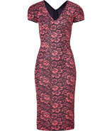 Coral and Black Flower Lace Dress