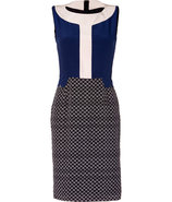Navy/Bone Arrow Print Silk Colette Sheath Dress
