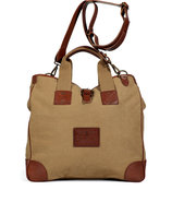 Washed Khaki Canvas and Leather Web Handle Tote