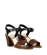 Brown/Black Block Heel Sandals