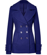 Royal Blue Wool-Blend Fay Pea Coat