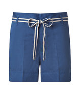 Blue Cotton-Linen Shorts
