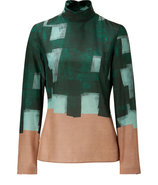 Bottle Green-Multi Silk-Wool Blouse