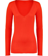 Vibrant Orange Cotton-Silk-Cashmere V-Neck Pullove