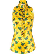 Chartreuse/Green Bird Printed Silk Top with Ruffle