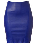 Blue Stretch Leather Skirt